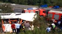 İstanbul-Ankara TEM Otoyolu'nda Otobüs Şarampole Devrildi