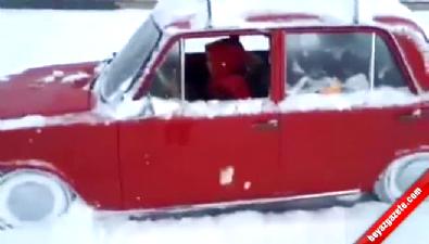 Hacı Murat'la kar üstünde drift yapan kadın