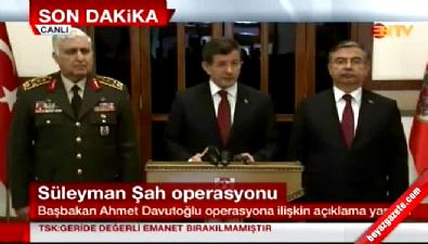 Başbakan Ahmet Davutoğlu'ndan Süleyman Şah açıklaması