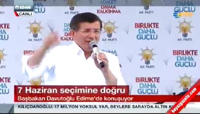 Başbakan Davutoğlu Edirne'de vatandaşlara seslendi