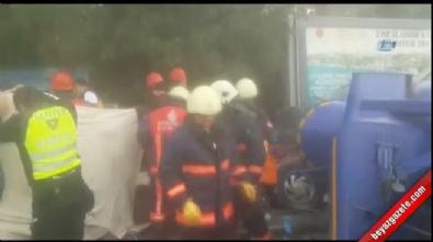 Beton mikseri devrildi: 1 ölü 5 yaralı