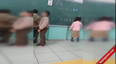 Öğretmen dayağı kamerada