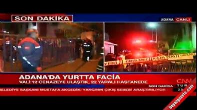 Adana'da kız öğrenci yurdunda yangın! MHP'li vekil Mevlüt Karakaya canlı yayına bağlandı