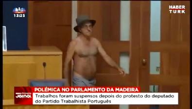 Portekizli Vekil Parlamentoda Soyundu