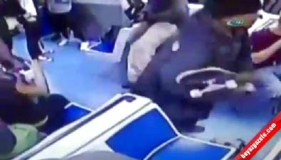 Trende kadına kaykaylı saldırı