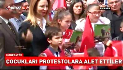 CHP'liler protestoya çocukları alet etti