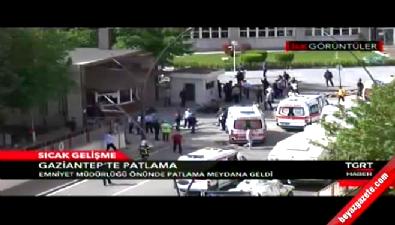 patlama sesi - Gaziantep Emniyet Müdürlüğü önünde patlama! İşte olay yerinden ilk görüntüler..