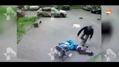 Kadının kafasına beton blok düştü
