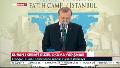 Cumhurbaşkanı Erdoğan Kur'an-ı Kerimi güzel okuma yarışmasında konuştu
