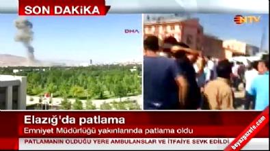Elazığ Emniyet Müdürlüğü önünde patlama sonrası olay yerinden ilk görüntüler!