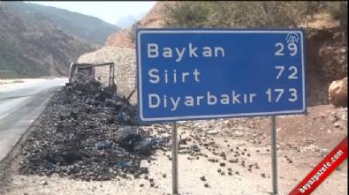 PKK yol kesip araç yaktı