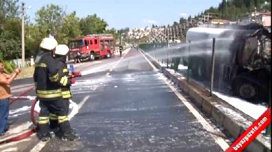 Kaza Yapan Mazot Yüklü Tanker Alev Alev Yandı
