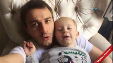 Baba ile minik oğlunun güldüren performansı