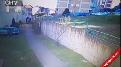 Otomobil apartmanın girişine böyle uçtu