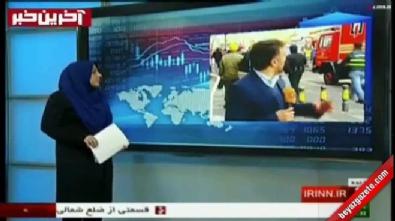 Tahran'da yanan binanın çöküşü canlı yayında