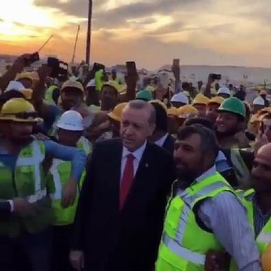Kuveyt'teki Türk işçiler Erdoğan'ı bu tezahüratla karşıladı