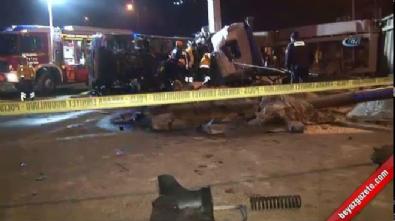 Başkent'te freni boşalan alçı yüklü tır devrildi: 1 ölü