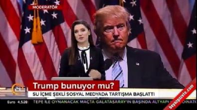 Trump'ın iki eliyle bardağı tutması tartışma yarattı