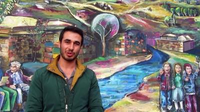 Kaplıca duvarlarına Anadolu kültürünü çiziyor - AFYONKARAHİSAR