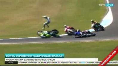Dünya Supersport Şampiyonası'na damga vuran kaza!