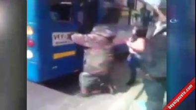 Hırsızı otobüsün kapısına sıkıştırdılar