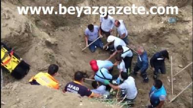 Toprak altında kalan işçi bir buçuk saat sonra kurtarıldı