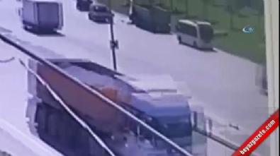Hafriyat kamyonunun genç kıza çarpma anı kamerada