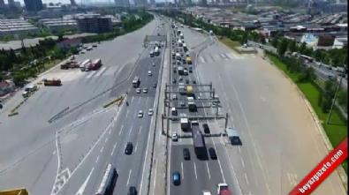 Bayram trafiği havadan görüntülendi