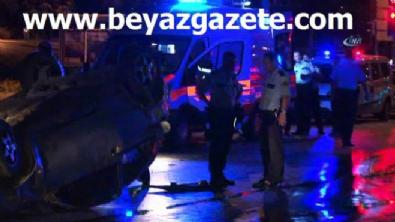polis ekipleri - Polislerin içinde bulunduğu araç takla attı!