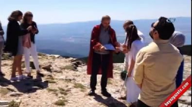 1726 metre yükseklikteki Kazdağı'nda nikah yaptılar