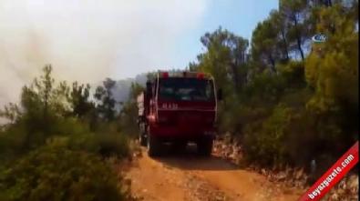 Muğla'da orman yangını...Yangın havadan görüntülendi