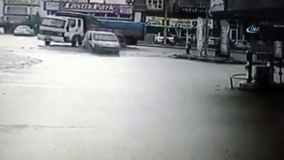 Kontrolden çıkarak benzin istasyonuna giren araç kamerada