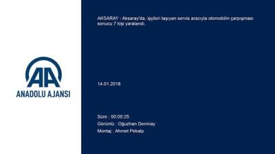 Aksaray'da işçi servisi ile otomobil çarpıştı: 7 yaralı