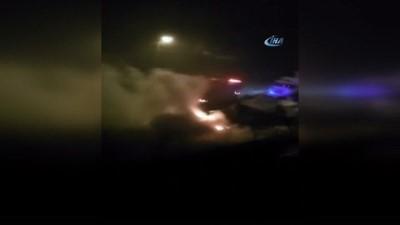 Niğde'de otomobil alev alev yandı