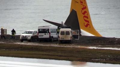 Pistten çıkan uçağın kaldırılması çalışması - TRABZON