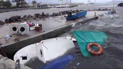Bodrum'u fırtına vurdu...Balıkçı teknesi battı, ağaçlar devrildi, deniz taştı