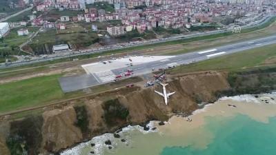 Pistten çıkan uçağı kaldırma çalışmaları - Drone görüntüleri (10) - TRABZON