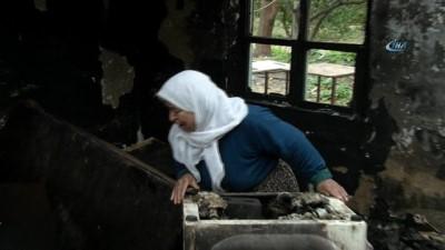 Yangında evi yanan kadının feryadı yürek burktu