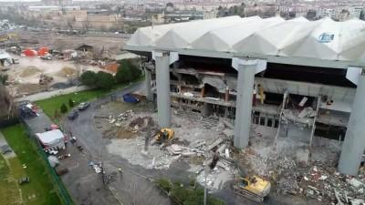 Abdi İpekçi Spor Salonu yıkım çalışması havadan görüntülendi