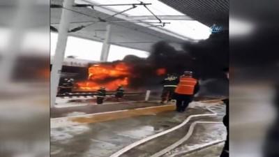 Çin'de Hızlı Tren Alev Aldı