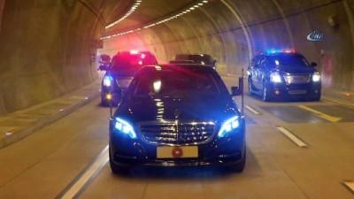 Cumhurbaşkanı Erdoğan, açılışını yaptığı tünelden böyle geçti