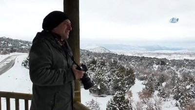 Beyşehir Gölü kar yağışı sonrası kartpostallık görüntüler oluşturdu