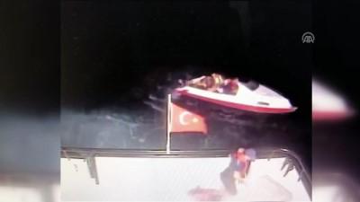 Batan lastik bottaki göçmenler sahil güvenlik ekiplerince kurtarıldı - Kurtarılma anı - MUĞLA