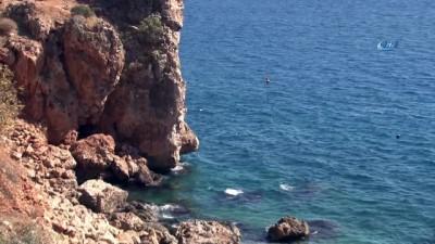 amator -  30 metrelik falezlerin ucunda tehlikeli balık avı kamerada
