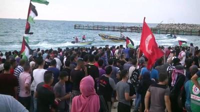 Gazzeliler, İsrail ablukasının kaldırılması talebiyle sahile akın etti (1) - GAZZE