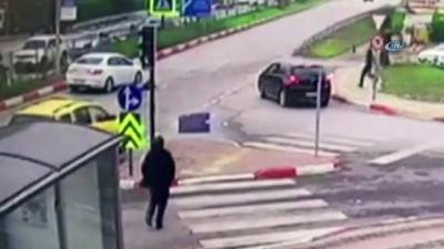 kamera - Kırmızı ışıktan geçen otomobil dehşet saçtı...  O anlar güvenlik kamerasına anbean yansıdı