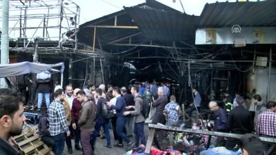 Erbil'deki yangında bitpazarı küle döndü - ERBİL
