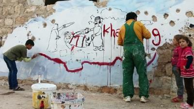 İdlibli grafiti sanatçısından Kaşıkçı'yla dayanışma resmi - İDLİB