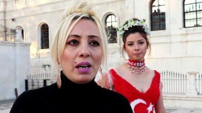 Cumhuriyet Bayramı'na özel Türk bayraklı gelinlik tasarladı - SİVAS