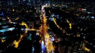 Beşiktaş'ta binlerce vatandaşın katıldığı cumhuriyet coşkusu havadan görüntülendi